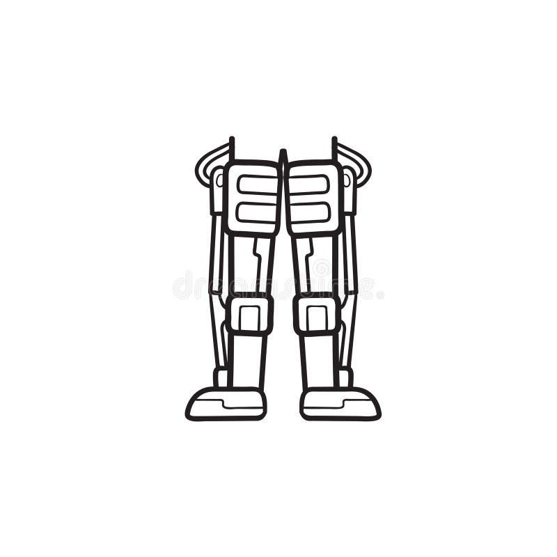Icône tirée par la main de griffonnage d'ensemble de jambes mécaniques de robot illustration stock