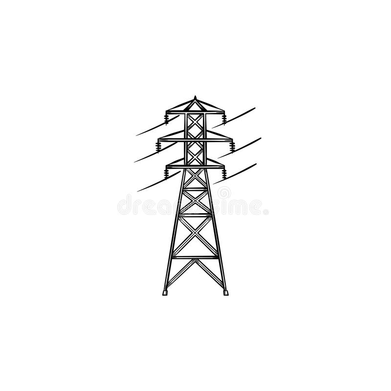 Icône tirée par la main de griffonnage d'ensemble de ligne électrique électrique illustration stock