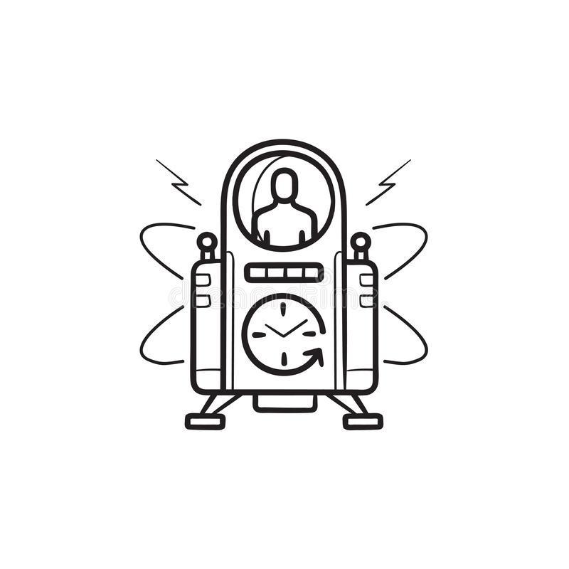 Icône tirée par la main de griffonnage d'ensemble de machine de temps illustration stock