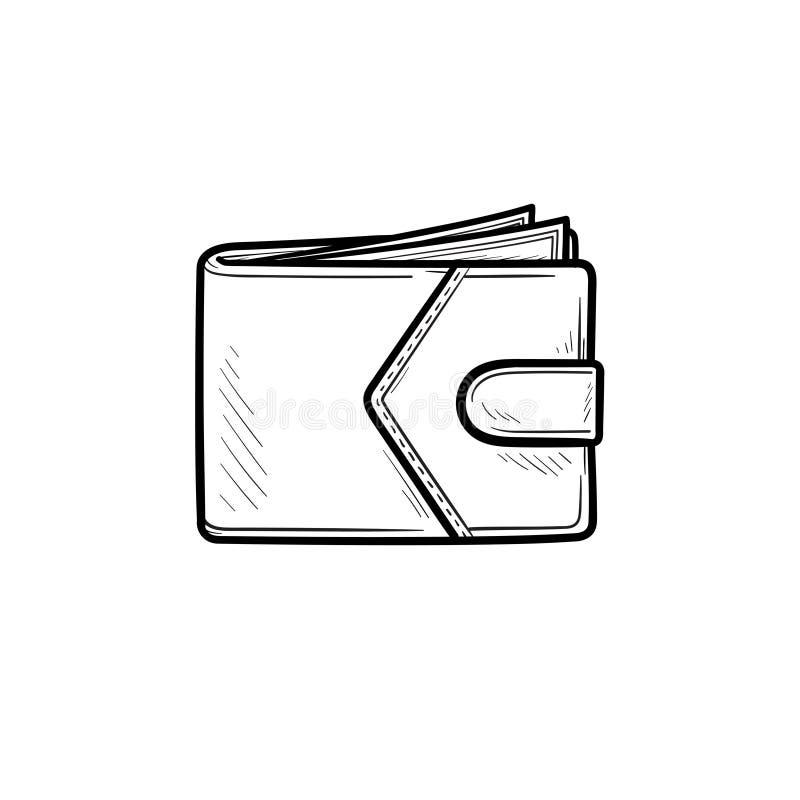 Icône tirée par la main de griffonnage d'ensemble de portefeuille moderne illustration libre de droits