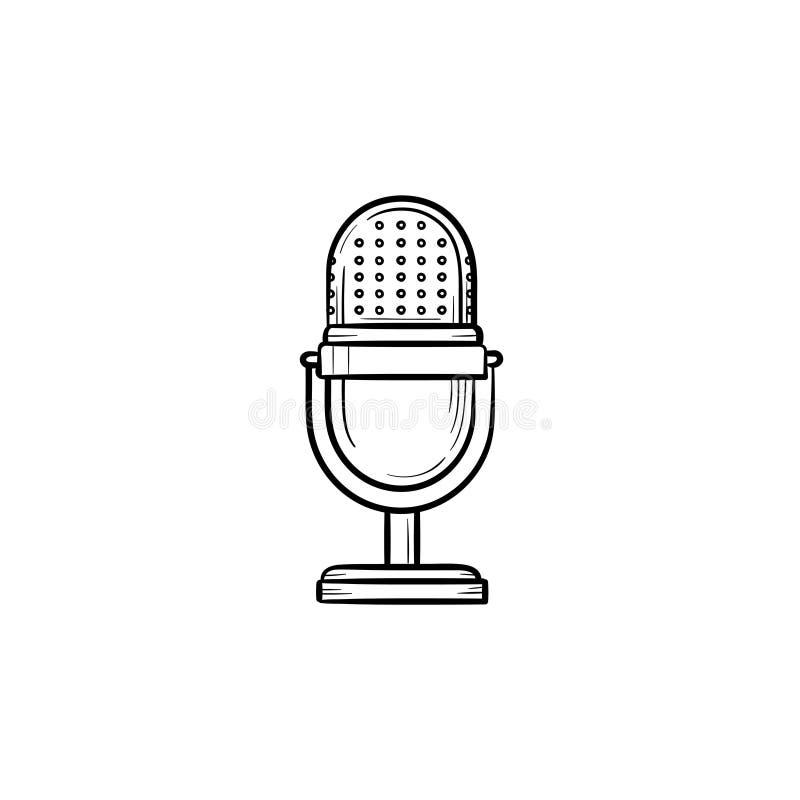 Icône tirée par la main de griffonnage d'ensemble de rétro microphone de vintage illustration stock