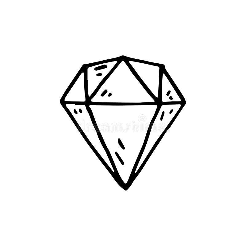 Icône tirée par la main de griffonnage de diamant Croquis noir tiré par la main r illustration de vecteur