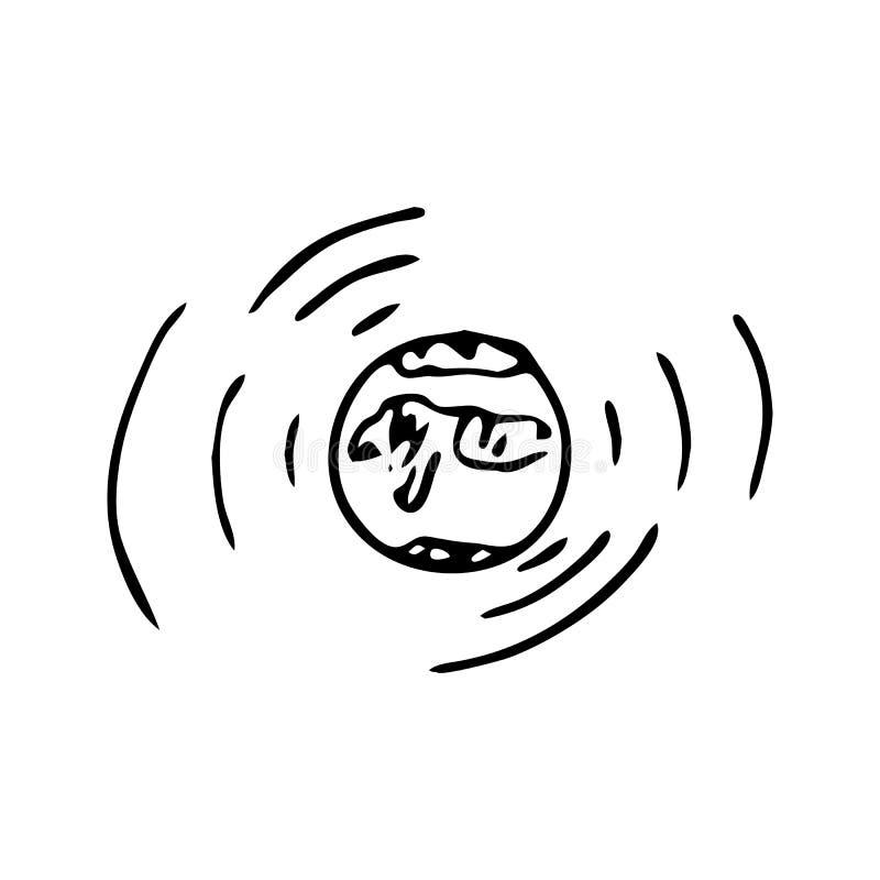 Icône tirée par la main de griffonnage de globe Croquis noir tiré par la main Signe Symb illustration de vecteur