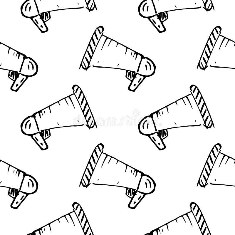 Icône tirée par la main de griffonnage de haut-parleur de modèle sans couture Croquis noir tir? par la main symbole de signe ?l?m illustration stock