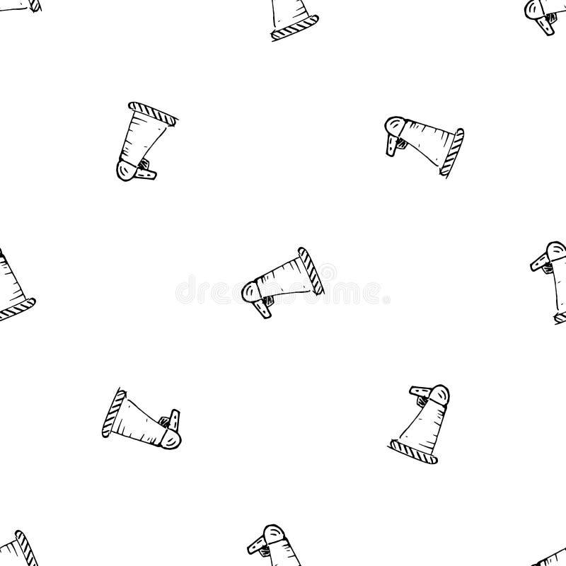 Icône tirée par la main de griffonnage de haut-parleur de modèle sans couture Croquis noir tir? par la main symbole de signe ?l?m illustration de vecteur