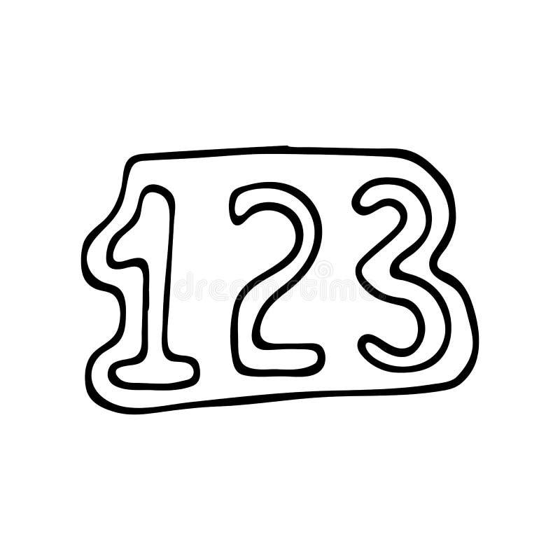 Icône tirée par la main de griffonnage de 123 nombres Croquis noir tiré par la main sig illustration libre de droits