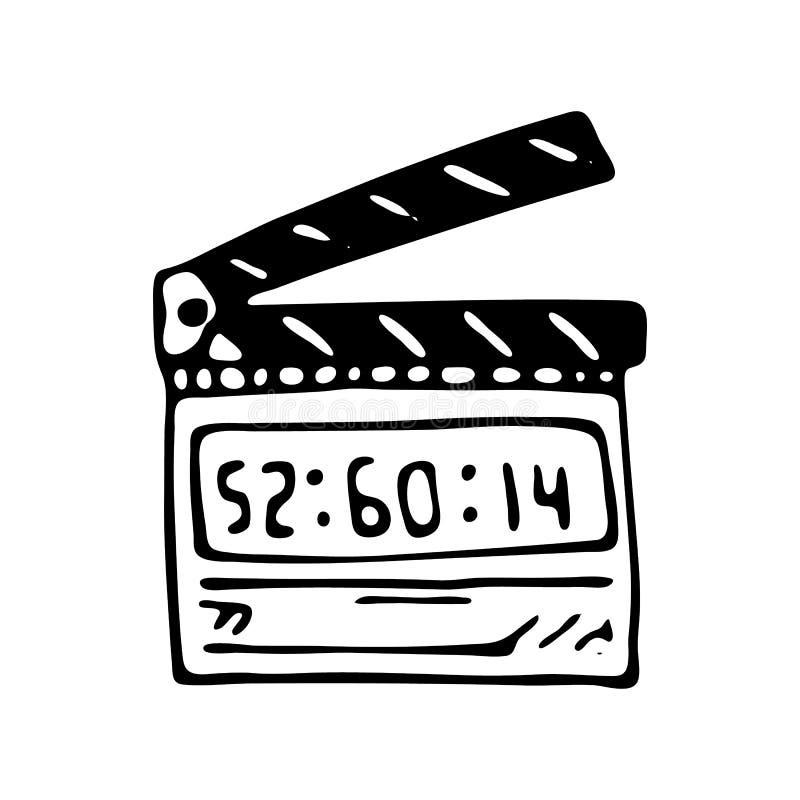 Icône tirée par la main de griffonnage de panneau de clapet de film Ske noir tiré par la main illustration stock
