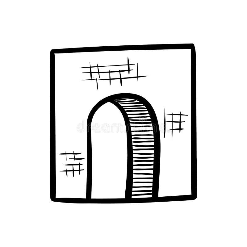 Icône tirée par la main de griffonnage de porte Croquis noir tiré par la main symbole de signe Élément de décoration Fond blanc D illustration libre de droits