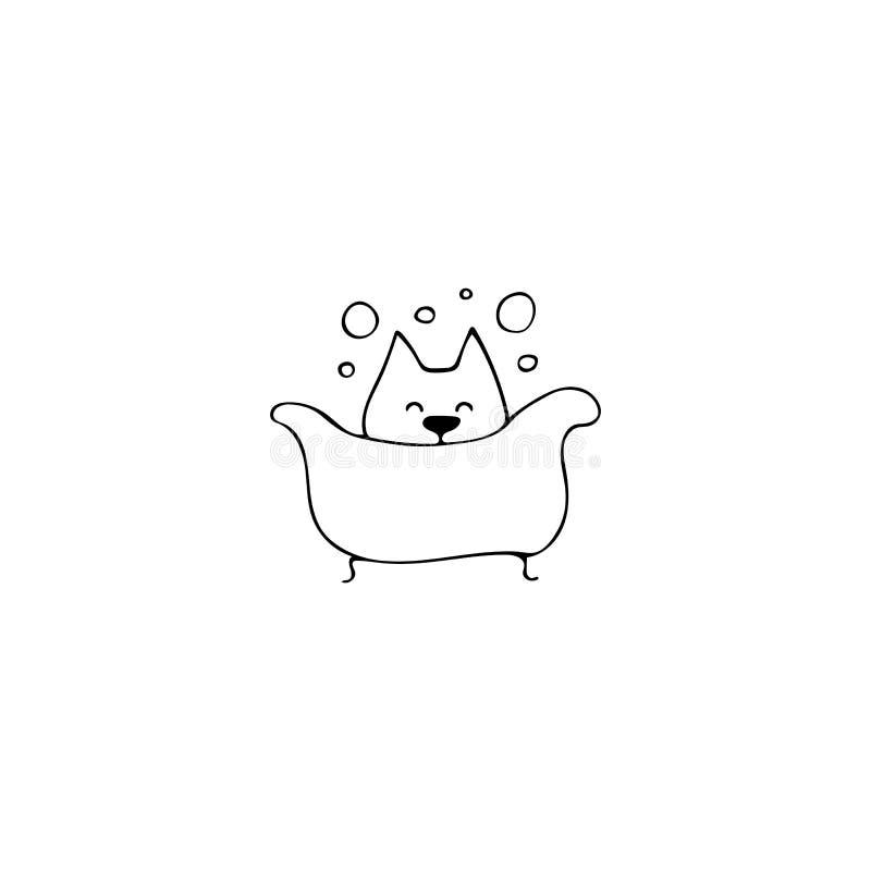 Icône tirée par la main de vecteur, chien dans la baignoire Élément de logo pour des affaires relatives d'animaux familiers illustration stock