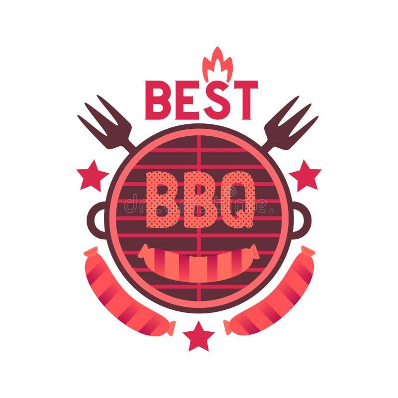 Icône tirée par la main plate drôle de couleur de vecteur du meilleur gril de BBQ illustration stock