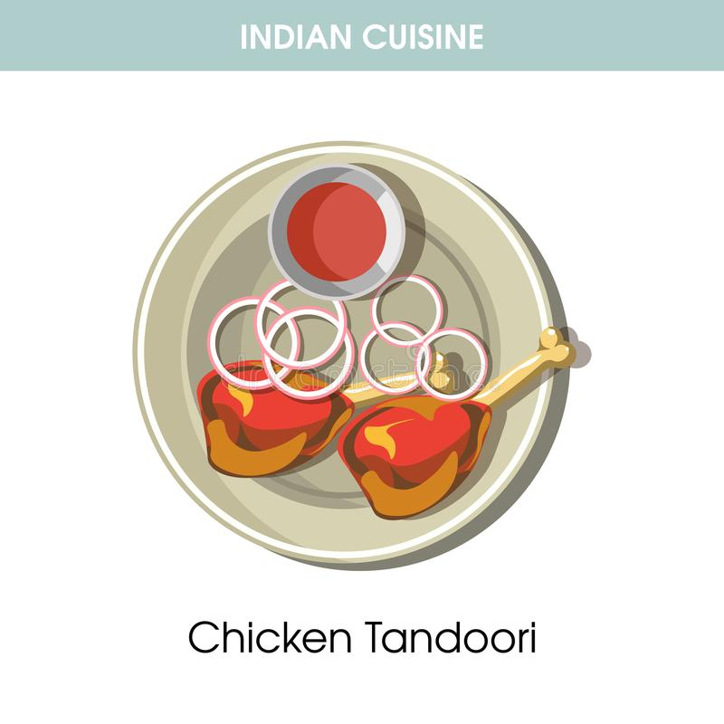 Icône traditionnelle tandoori de vecteur de nourriture de plat de poulet indien de cuisine pour le menu de restaurant illustration libre de droits