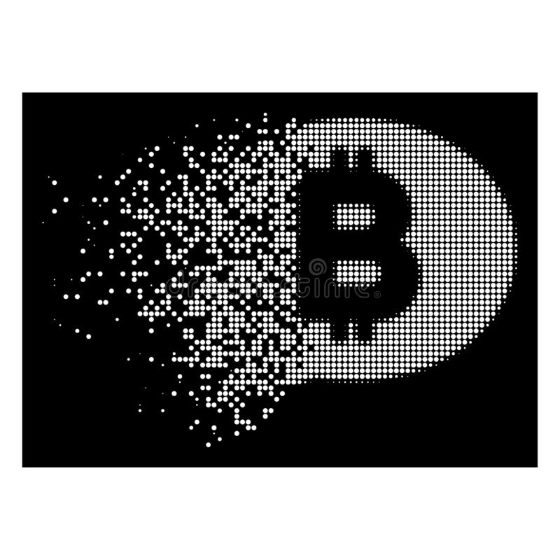 Icône tramée cassée blanche de message de Pixelated Bitcoin illustration stock