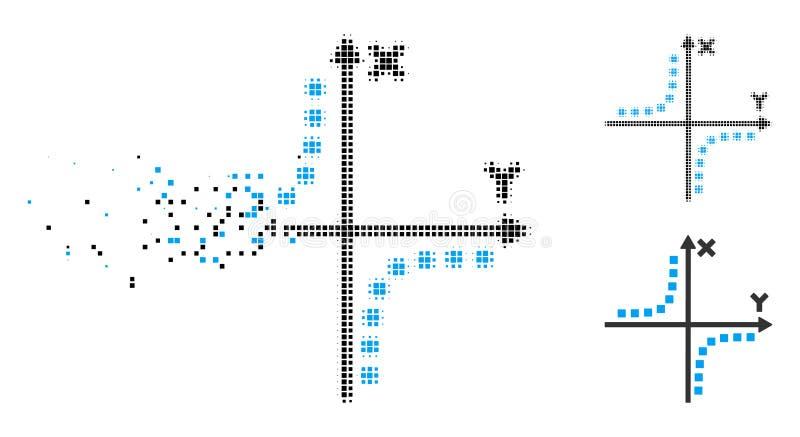 Icône tramée cassée de complot d'hyperbole de Pixelated illustration libre de droits