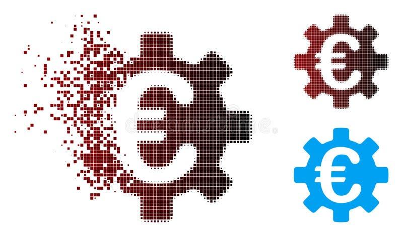 Icône tramée déchiquetée de vitesse de machines de pixel euro illustration de vecteur