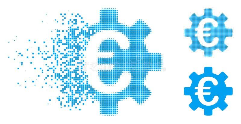 Icône tramée déchiquetée de vitesse de machines de Pixelated euro illustration libre de droits