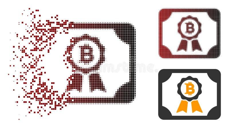 Icône tramée décomposée de certificat de Pixelated Bitcoin illustration de vecteur