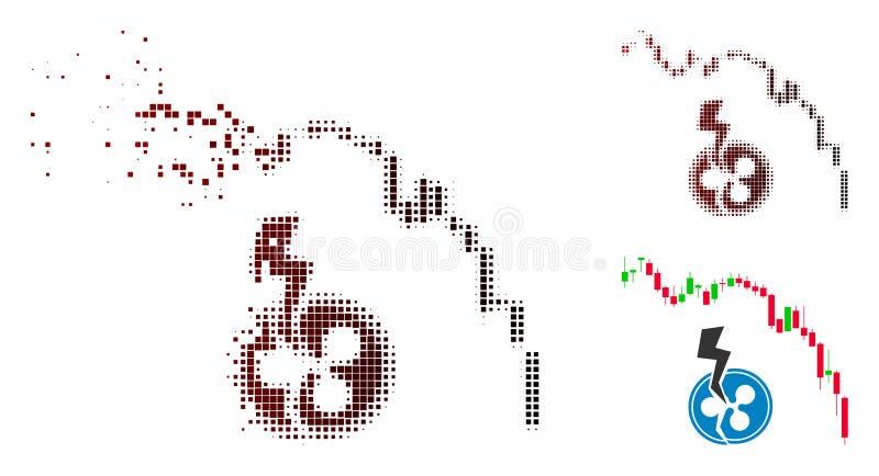 Icône tramée d'accident d'ondulation de diagramme de chandelier pointillée par poussière illustration libre de droits
