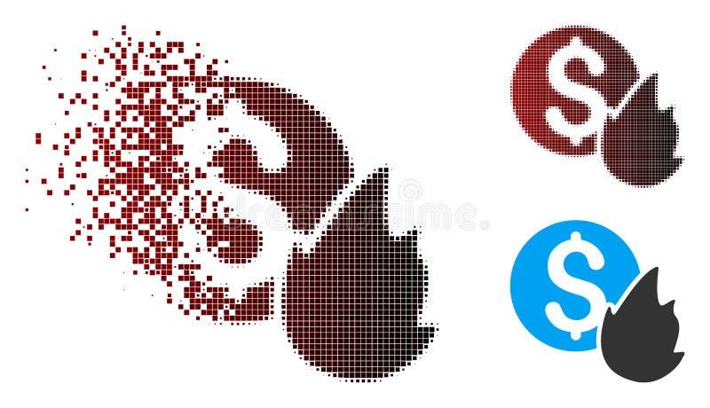 Icône tramée d'argent de brûlure de pixel dispersé illustration de vecteur