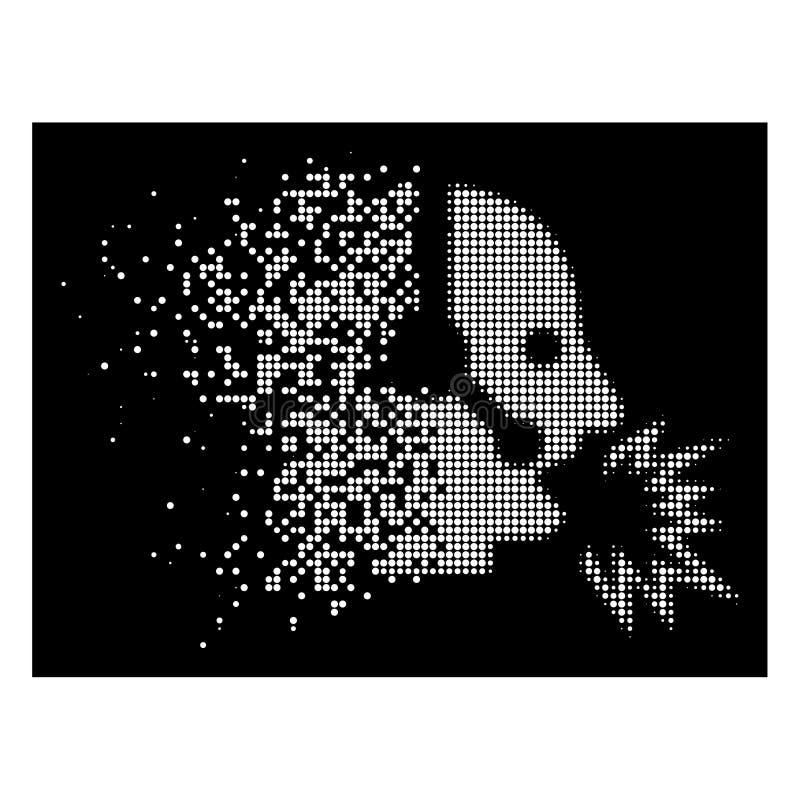 Icône tramée de cri d'opérateur pointillée par poussière lumineuse illustration de vecteur