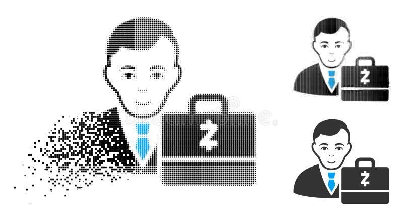 Icône tramée de désintégration de Pixelated Zcash Accounter avec le visage illustration de vecteur