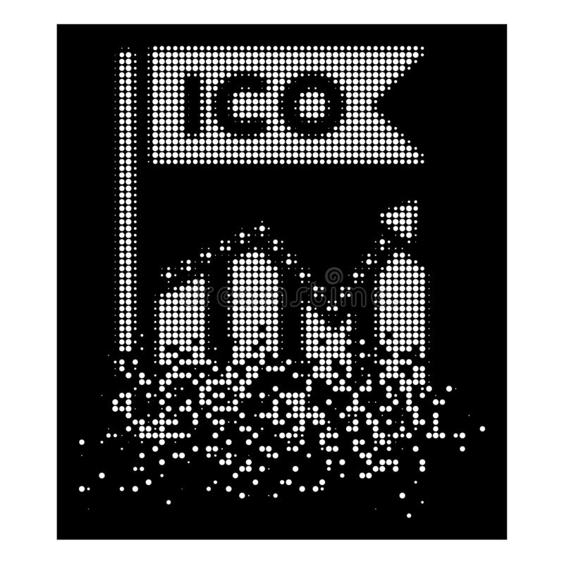 Icône tramée de diagramme de Pixelated dissoute par blanc ICO illustration stock