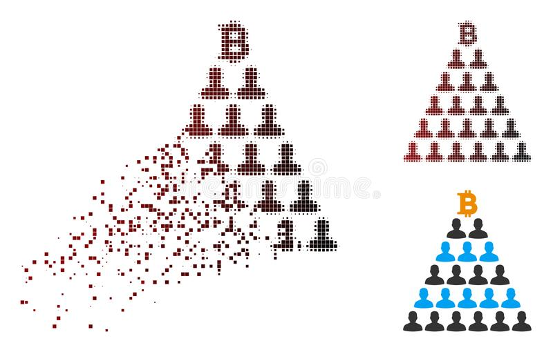 Icône tramée de disparition de pyramide de Bitcoin Ponzi de pixel illustration libre de droits