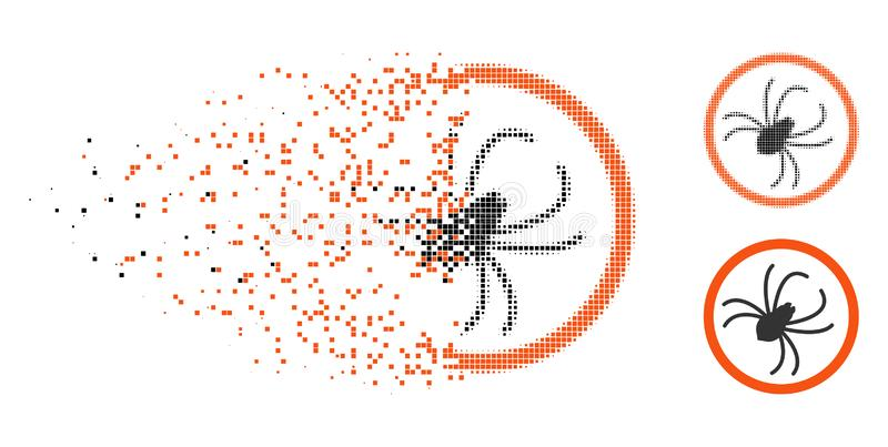 Icône tramée de dissolution d'araignée de Pixelated illustration de vecteur