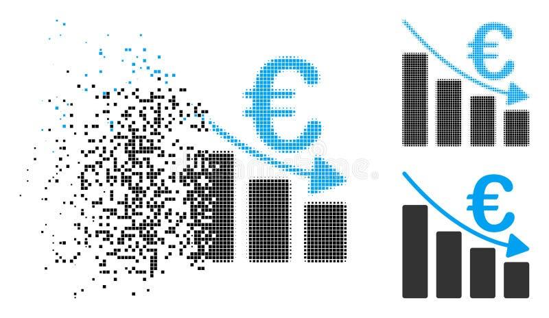 Icône tramée de dissolution d'histogramme de récession de Pixelated euro illustration libre de droits