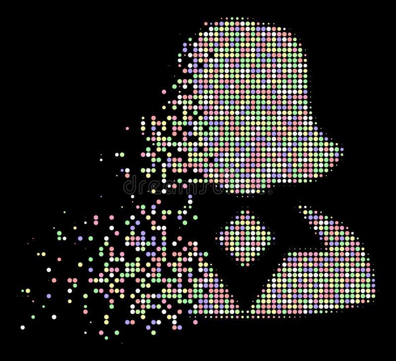 Icône tramée de dissolution lumineuse de femme de pixel illustration stock