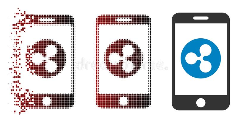 Icône tramée de dissolution de mobile d'ondulation de pixel illustration libre de droits