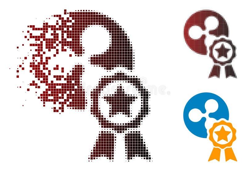 Icône tramée de dissolution de récompense d'ondulation de pixel illustration de vecteur