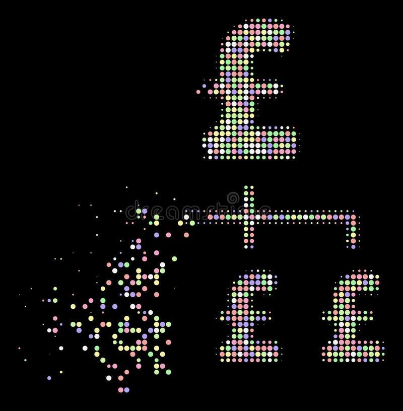 Icône tramée de hiérarchie de livre de pixel décomposée par doux illustration de vecteur