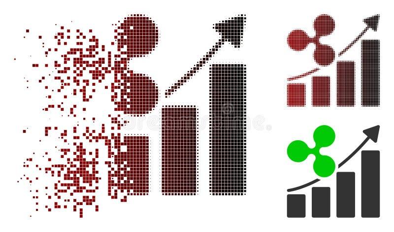 Icône tramée dispersée de tendance de croissance d'ondulation de pixel illustration libre de droits