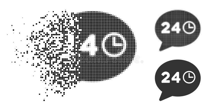 Icône tramée dissoute d'heures de message de pixel illustration de vecteur
