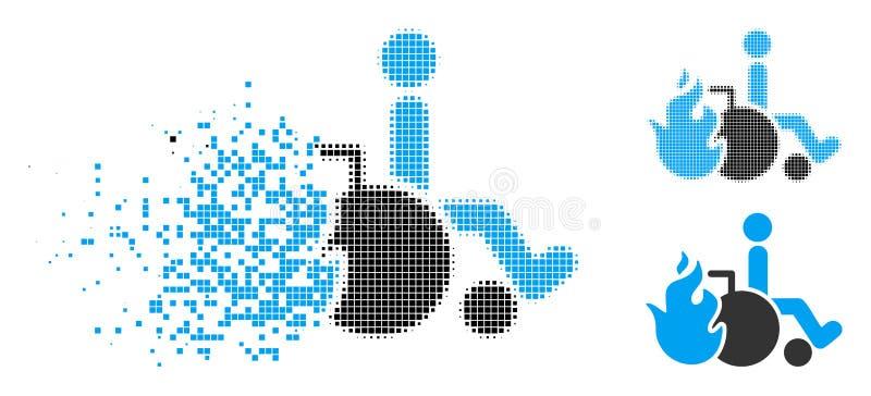 Icône tramée dissoute de patient de brûlure de pixel illustration de vecteur