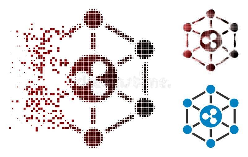 Icône tramée dissoute de réseau d'ondulation de Pixelated illustration stock