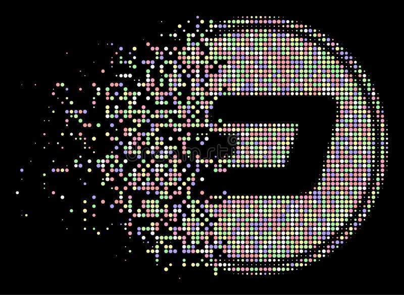 Icône tramée dissoute lumineuse de pièce de monnaie de tiret de pixel illustration libre de droits