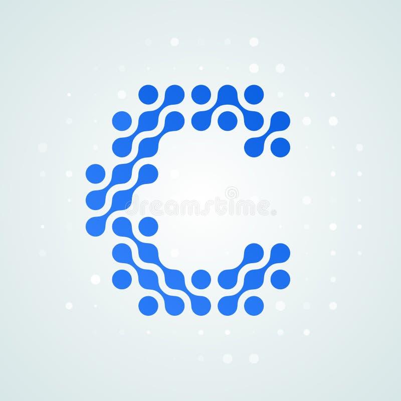 Icône tramée moderne de logo de la lettre C Dirigez la ligne bleue futuriste conception numérique à la mode de point de signe pla illustration stock