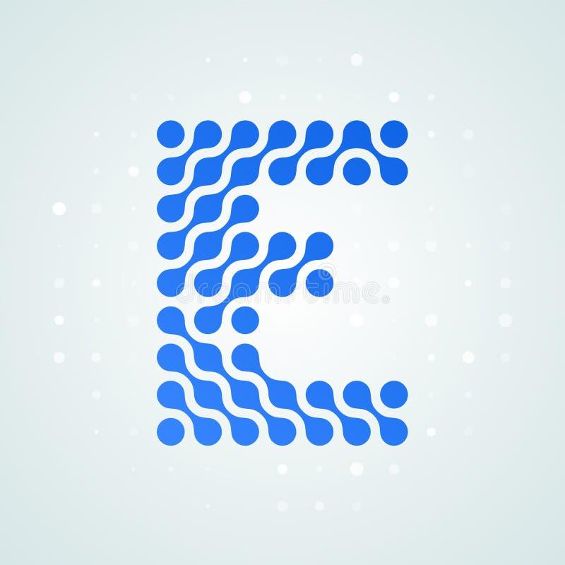 Icône tramée moderne de logo de la lettre E Dirigez la ligne bleue futuriste conception numérique à la mode de point de signe pla illustration libre de droits