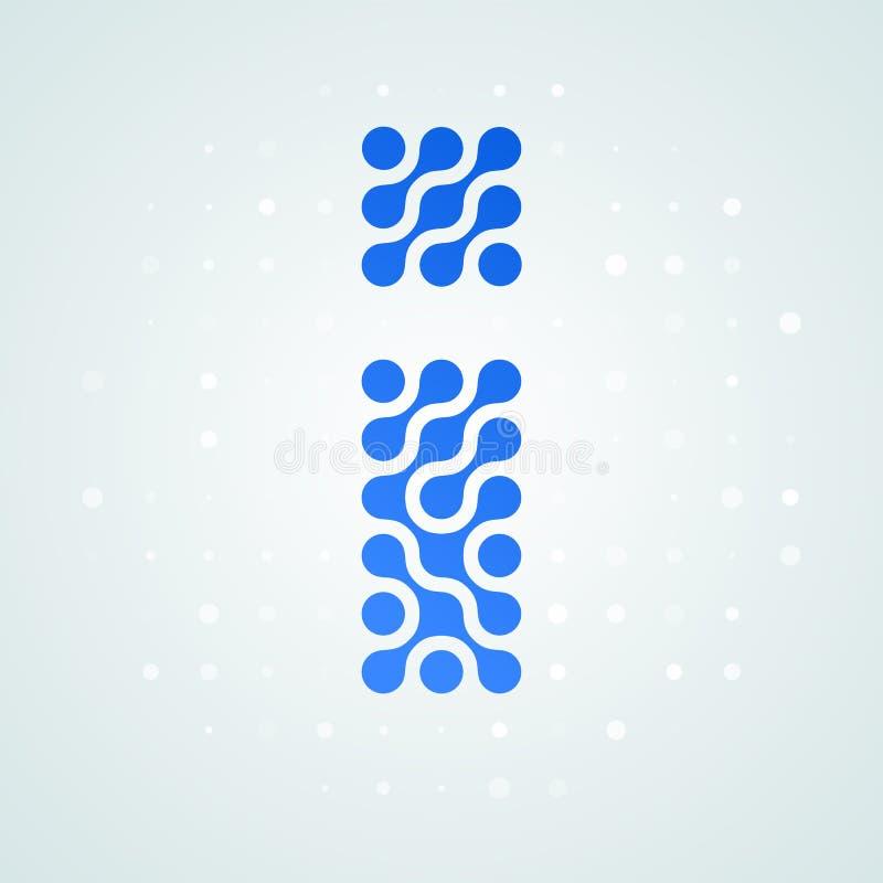 Icône tramée moderne de logo de la lettre I Dirigez la ligne bleue futuriste conception numérique à la mode de point de signe pla illustration libre de droits