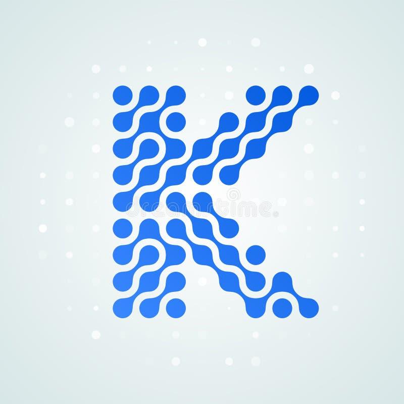 Icône tramée moderne de logo de la lettre K Dirigez la ligne bleue futuriste conception numérique à la mode de point de signe pla illustration de vecteur