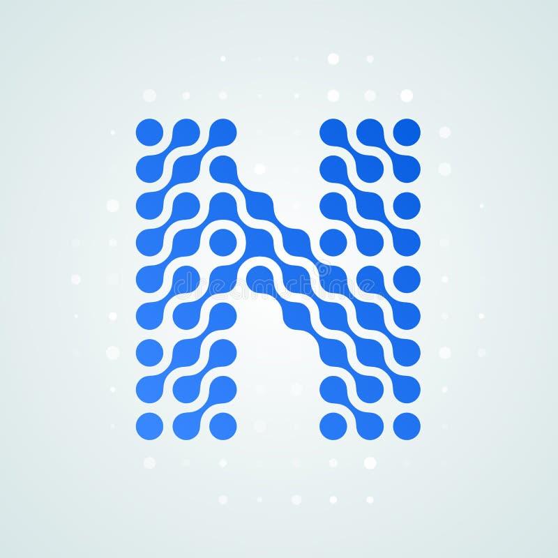 Icône tramée moderne de logo de la lettre N Dirigez la ligne bleue futuriste conception numérique à la mode de point de signe pla illustration libre de droits