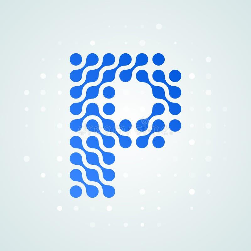 Icône tramée moderne de logo de la lettre P Dirigez la ligne bleue futuriste conception numérique à la mode de point de signe pla illustration libre de droits