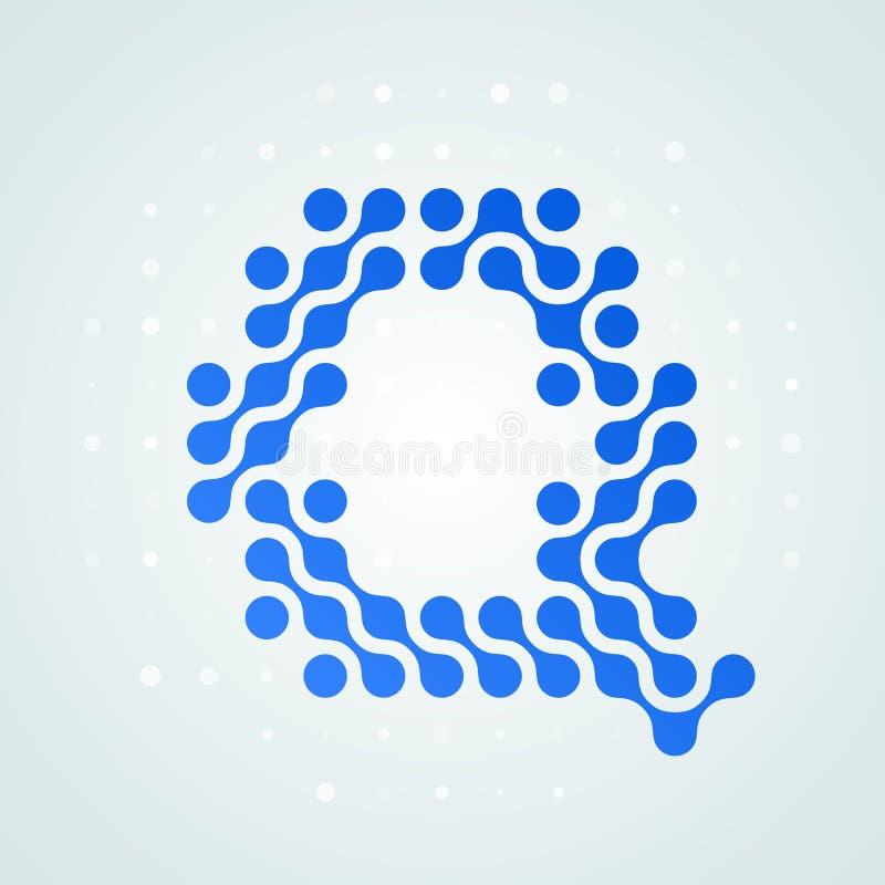 Icône tramée moderne de logo de la lettre Q Dirigez la ligne bleue futuriste conception numérique à la mode de point de signe pla illustration stock
