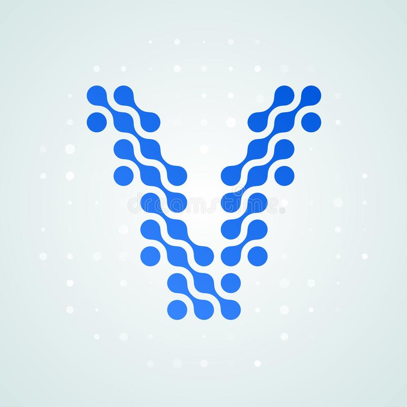 Icône tramée moderne de logo de la lettre V Dirigez la ligne bleue futuriste plate conception numérique à la mode de point de sig illustration de vecteur