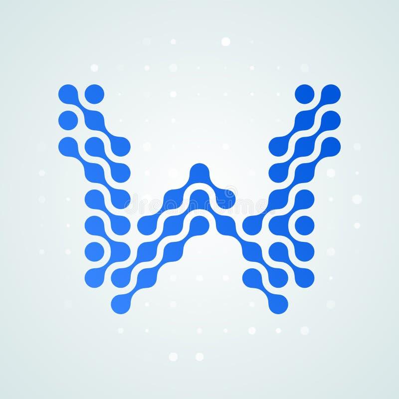 Icône tramée moderne de logo de la lettre W Dirigez la ligne bleue futuriste conception numérique à la mode de point de signe pla illustration libre de droits