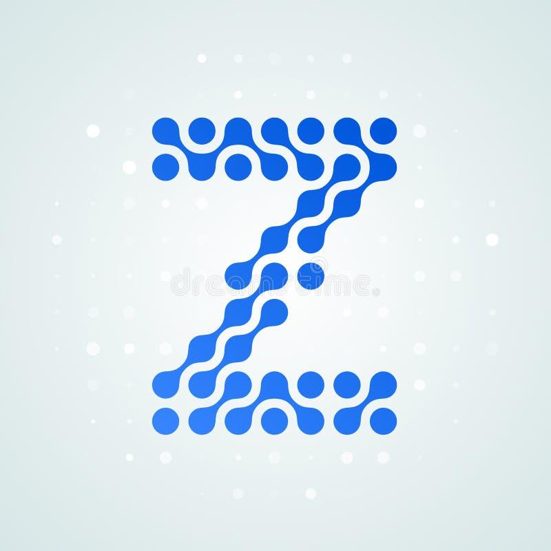 Icône tramée moderne de logo de la lettre Z Dirigez la ligne bleue futuriste conception numérique à la mode de point de signe pla illustration de vecteur