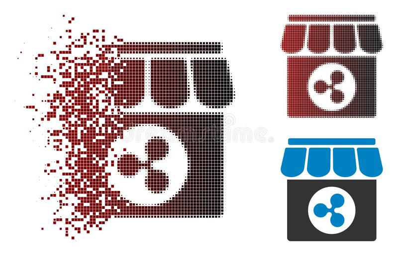 Icône tramée pointillée détruite de magasin d'ondulation illustration de vecteur
