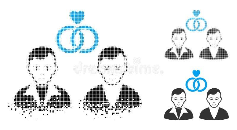 Icône tramée pointillée de dissolution de mariage d'homosexuels avec le visage illustration de vecteur