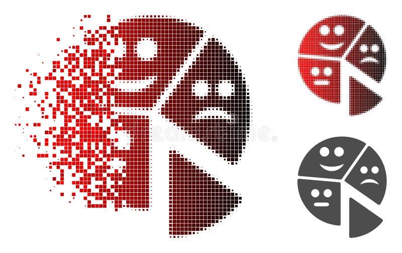 Icône tramée réduite en fragments de graphique circulaire d'émotion de Pixelated illustration stock